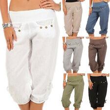 Womens Summer Cropped Pants Shorts Ladies Holiday Slim Capri 3/4 Length Trousers
