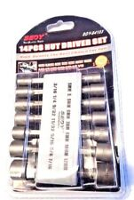 "14Pc Power Nut Metric Socket Wrench Screw 1/4""Hex Shank Driver Drill Bit Set"
