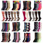 12 Pairs Lot Women Lady Girl Design Knee High Socks Casual Multi Pattern 9-11