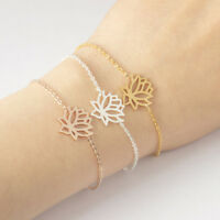Eg _ Edelstahl Blütenform Armband Damen Schmuck Armbanduhr Kette Armreif T