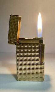 Vintage lighter Dupont Ligne 1 Large Gold Plated💎Diamond💎Guilloche Very Good