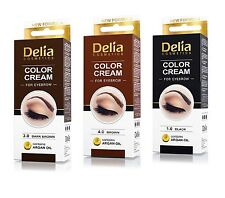 DELIA Henna Color Cream Eyebrow Tint Kit Set Black, Brown, Dark Brown Dye