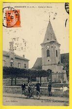 cpa 77 - JOSSIGNY en 1927 (Seine et Marne) EGLISE ett MAIRIE Animés Enfants Vélo