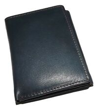 NEW ITALIA LEATHER MEN'S RFID PROTECTED TRIFOLD CREDIT CARD ID WALLET INDIGO/BRN