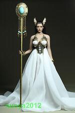 Custom 1/6 Female White Wedding Dress Skirt For Women Phicen Body Victory Gold
