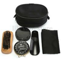 5 In 1 Shoe Shine Care Kit Set Neutral Polish Brush Leather Shoes Boots + Case
