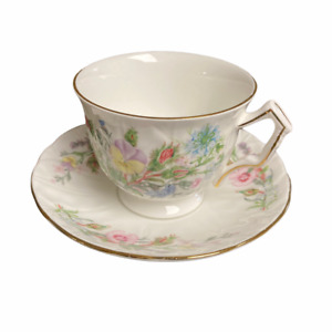 Aynsley England Wild Tudor Floral Gold Rim Cup and Saucer Set