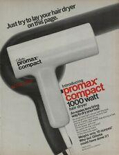 1977 Gillette Introducing Promax Compact 1000 Watt Hair Dryer Vintage Print Ad