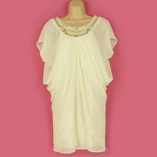 ASOS GORGEOUS CREAM LINED JEWEL NECKLINE FLOATY LINED TUNIC DRESS SIZE 8 VGC