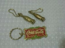 Vintage 1987 Coca Cola Keychains Lot of 3 Flat & Bottles Brass