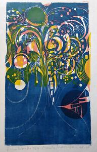 "NAOKO MATSUBARA, ""fireworks"" signed original woodcut"