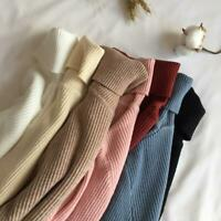 Sweater Women Knitted Ribbed Pullover Sweater Long Slee2020 Autumn Winter Thick