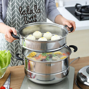3-Layer Multi-Layer 30CM Induction&Gas Stainless Steel Boiler & Steamer Pot Set