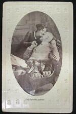 Antique 1911 Postcard Embossed Lovers Bamforth & Co 1ct Franklin Stamp