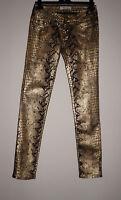 Gold & Black Metallic Animal Print Stretch Jeans- Low Rise Slim Leg-8-W26 L30