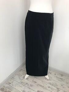 St Michael Black Velvet Maxi Pencil Straight Skirt Split Size 16
