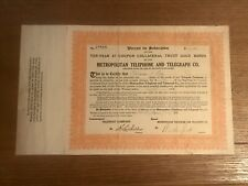 1912 METROPOLITAN TELEPHONE&TELEGRAPH Co STOCK CERTIFICATE ~ 10 Shares, obsolete
