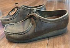 Women's CLARKS ORIGINAL Wallabees Brown Beeswax Leather Shoes 7.5 38257