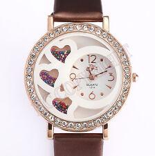 NEW Women's Exquisite Crystal Love Heart Decor Round Dial Quartz Wrist Watch