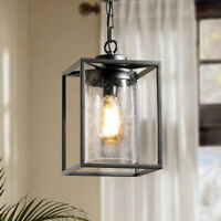 Vintage Black Metal Square Cage Seeded Glass Shade 1 Light Ceiling Pendant Lamp