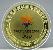 2002 Salt Lake City Winter Olympics Gold Colour Badge Coin