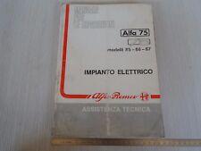 MANUALE ORIGINALE ALFA ROMEO OFFICINA ALFA 75 IMP. ELETTRICO 85-87 V6 TURBO ETC