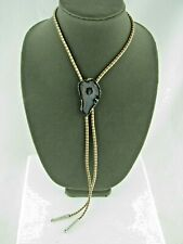 "Beautiful Translucent Polished Stone Bolo Tie Two Tone 18"" Cord"
