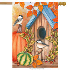 "Autumn Home Chickadees House Flag Fall Pumpkins 28"" x 40"" Briarwood Lane"