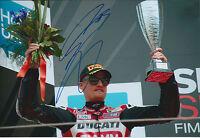 Chaz DAVIES SIGNED DUCATI Rider Autograph Photo AFTAL COA WSB Italy Podium