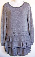 BCBG MAXAZRIA Tiered Ruffle Silk-Cotton-Metallic Silver Knit Sweater Dress XS