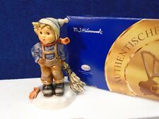 Hummel - Winter's Here, boy with broom and goves #2185, TMK8, New in box