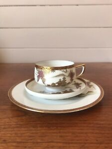 Vintage Japanese Porcelain Tea Trio Of Cup Saucer And Plate Hand Painted AF