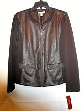 JM COLLECTION womens dark brown faux leather/knit zip front jacket size 6 NWT
