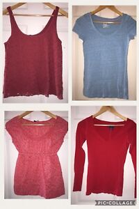 USED AMERICAN EAGLE OUTFITTERS 4 SHIRT SZ SMALL 4 LOT TANK RED BLUE T SHIRT