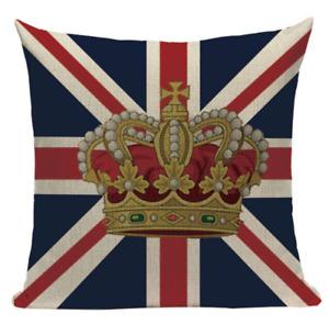 United Kingdom Crown Flag L13 Cushion Pillow Cover UK Union Jack Europe Royalty