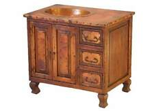 "36"" Reclaimed Wood Cabinet Bathroom Vanity Copper Sink Oil rubbed bronze finish"