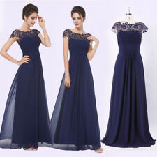 Ever-Pretty Navy Blue Cap Sleeve Lace Prom Gowns Bridesmaid Dresses Long 09993