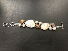 Silver Bracelet Shell Tiger Eye Mother of Pearl Toggle Adjustable NEW FREE SHIP