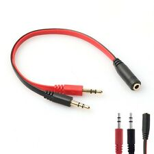3.5mm AUX Audio Mic Splitter Cable Earphone Headset Adapter 1 Female To 2 Male A
