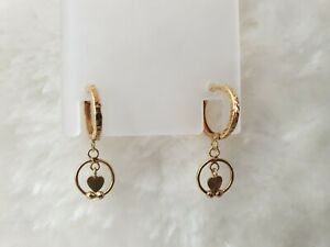 Genuine 18k Solid Gold Round Hoop Dangle Earrings