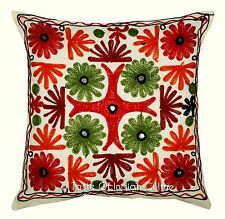 "16"" Ethnic Cushion Pillow Cover Indian Kutch Embroidered Sofa Throw Home Decor"