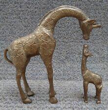 More details for vintage leonard mother & baby solid brass kissing giraffe figurines