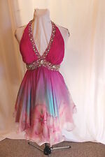 NWT Size 2 Jovani 158864 Fuchsia SILK short halter floral print jeweled dress