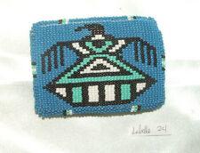 "Belt Buckle Native American Beadwork Blue Thunderbird 3.5x2.5"" New #24"
