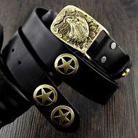 Solid Brass Eagle Head Buckle Biker Motorcycle Men's Leather Belt