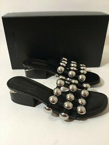 Alexander Wang Black Lou Dome Studded Leather Slides Size 39