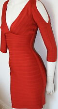 authentic Herve Leger rustic red cutout Kayann cocktail bandage dress new S