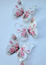 4 Stunning Shabby Chic Pink Rose 3D Butterflies Butterfly Decals Accessories 5""
