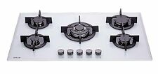 MILLAR GH9051PW 5 Burner Built-in White Gas on Glass Hob 90cm with Wok Burner