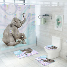 4Pcs Elephant Bathroom Rug Set Shower Curtain Non Slip Toilet Lid Cover Bath Mat
